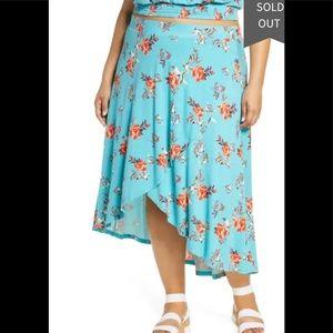 BP Floral Print High/Low Midi Skirt